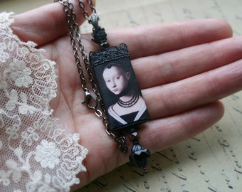 Dark Lady Renaissance Wood Pendant