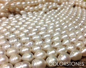 9-11 mm Freshwater Pearl Rice Beads - White - Full Strand (G4303W18)