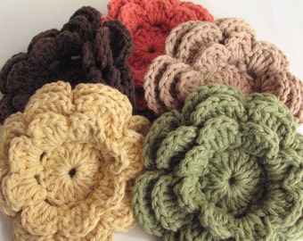 Crochet Flowers - 5 Large, Layered, Southwestern Shades Flowers