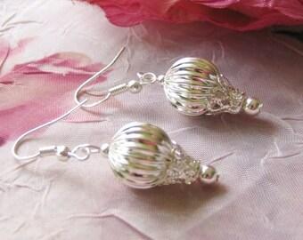 Hot Air BALLOON dangle earrings - ornate silver ride basket fun carnival sky for pierced ears sterling silver hooks