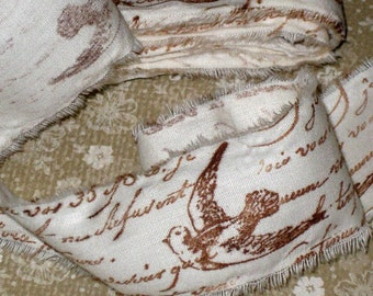 Muslin Paris Vintage Hand Stamped hand Distressed Ribbon French Script and Dove ECS