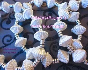 MARKDOWN Three Bangle Bracelet Set Textured German Silver Beaded Bracelets - SAHARA NIGHTS