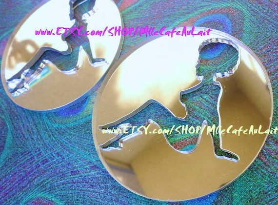 DISCONTINUED Silver Mirror Laser Cut  Acrylic Disc Earrings - Glitter Gals SILHOUETTE (Curly/ Afro Girl Earrings)