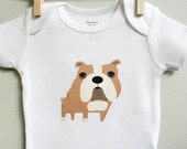 Baby clothes, bulldog baby, bulldog baby bodysuit sizes 3 months - 18 months. Long or short sleeve. Your choice of size.