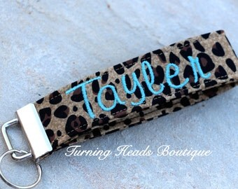 Monogrammed Cheetah Fabric Key Fob / Personalized Wristlet Key chain/ Luggage Tag / Personalized Bag Tag