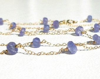 Tanzanite Faceted Bead 14K Yellow Gold Necklace