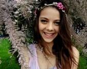 Crocheted  Romantic Bohemian Bridal Headband in beige - crocheted headband, bridal headband, headpice, boho-chic, fairytale headband
