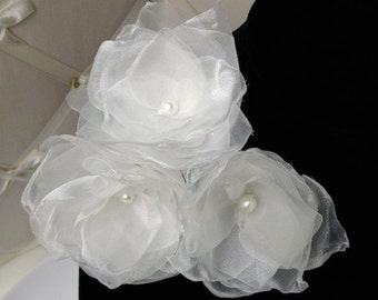 SALE White Fabric Flower Bridal Sash Pin