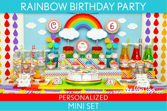 Rainbow Birthday Party Package Collection Set Mini Personalized Printable // Rainbow - B41Pz1