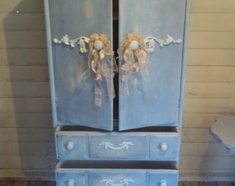 SOLD SOLD Romantic Linen Cupboard Armoire Cabinet Chest of Drawers TV Cabinet 'Swedish Blue'
