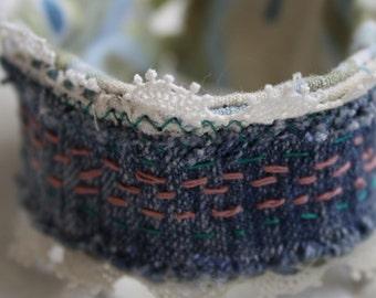 Upcyled wrist cuff, denim and lace, Eco friendly bracelet