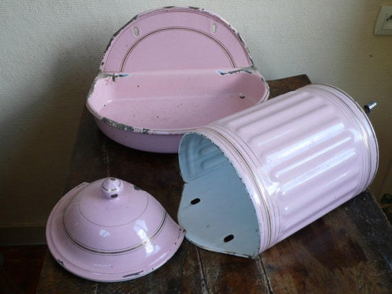 reserved for kraus: French antique enamel basin and bowl, fountain, pink, 1920s, lavabo, water faucet, french vintage