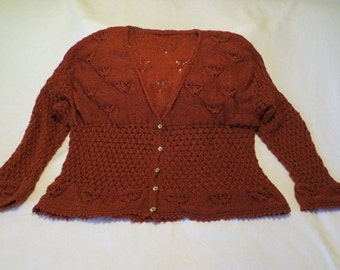 Hand Knit Lacey Cardigan