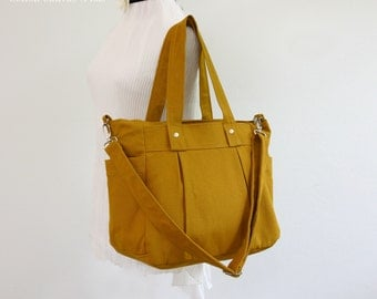Stock clearance  SALE - Mustard canvas bag, 3 compartments, Diaper bag, Messenger Tote Bag, Travel, Shoulder bag, Zipper closure - Nuch