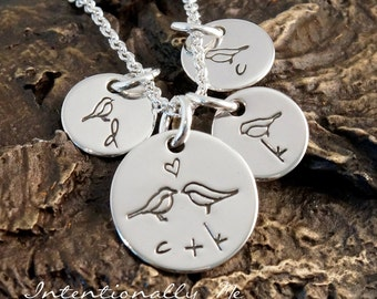 Hand Stamped Mommy Necklace -  Personalized Sterling Silver Jewelry - Tiny Tags - All Together (Necklace with three kids initials)