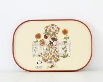 Retro kitsch serving tray with cute patchwork girl, dog and sunflowers