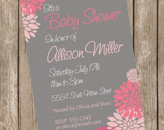 Girl Baby Shower Invitation Flower Pink and Grey printable invitation 121204-K4-1