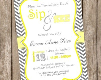 Neutral grey and yellow chevron sip and see baby shower invitation, grey, yellow, chevron, printable,printable invitation20130113-K1-1