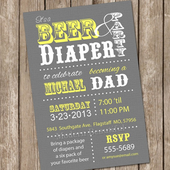Beer and Diaper Baby Shower Invitation Grey and Yellow Beer