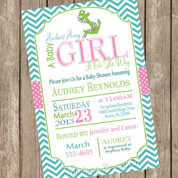 chevron anchors away a baby girl on the way baby shower invitation