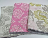 Baby Girl Burp Cloths - Set of 3 - Pink, Grey, and Green- Amy Butler - Floating Buds, Park Fountains, Fresh Poppies, with Grey Minky Dot