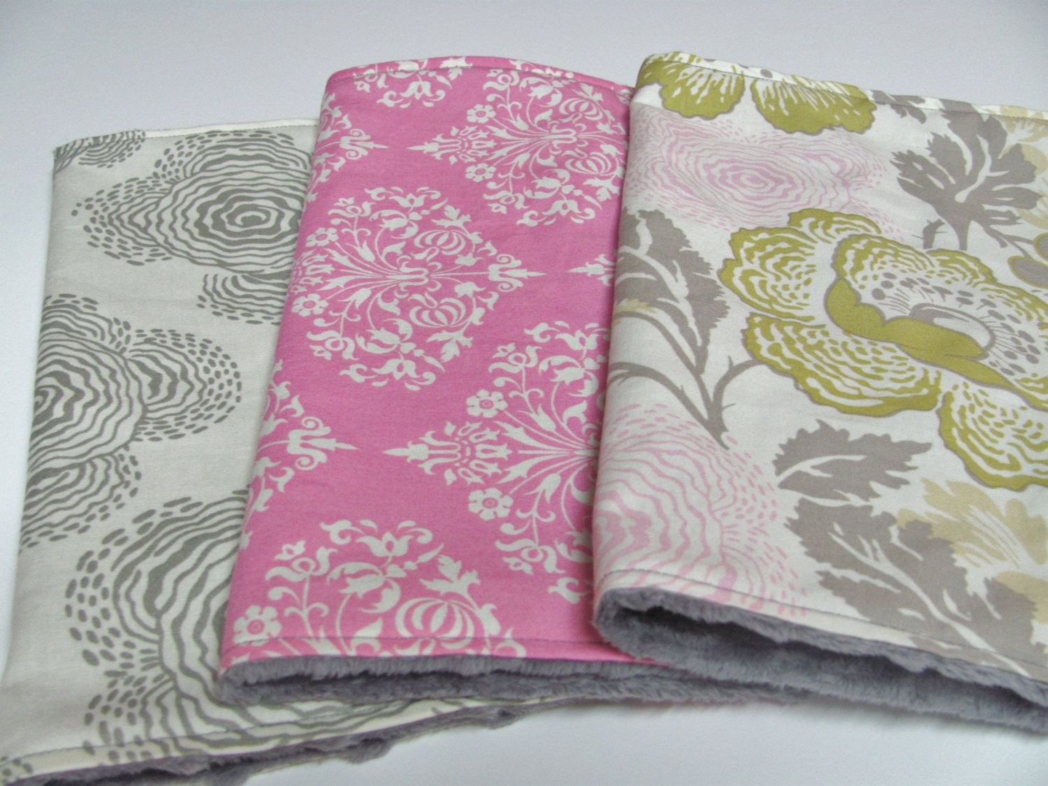 Baby Girl Burp Cloths Set of 3 Pink Grey by ButterBrickleBaby