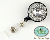 ID Badge Reel - Bling Swirl Flower in Clear - Nurse, RN, Professional Gifts - Badge Holder