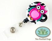 ID Badge Reel - Owl - Pink - Nurse, RN, Professional Gifts - Badge Holder