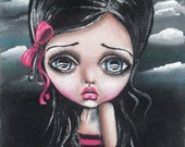 Big Eye Mixed Media Art Giclee Print Signed Reproduction Tale Of A Dark Princess by Lizzy Love [IMG#116]