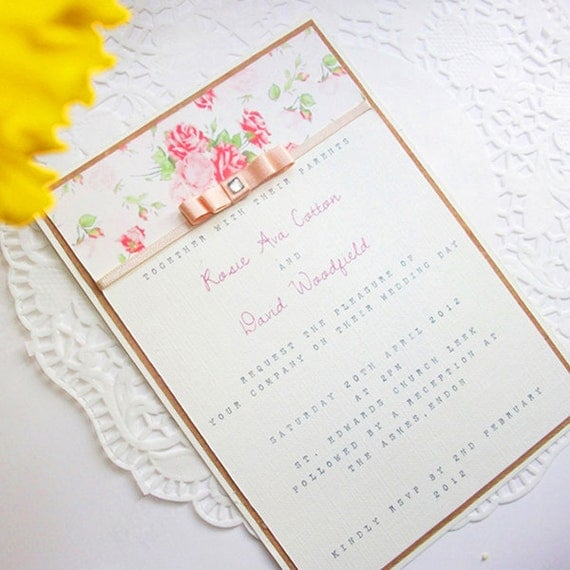 Vintage Peach Wedding Invitation