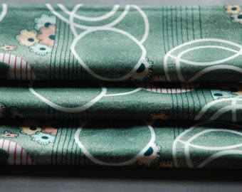 Polyester Stretch Vintage Fabric Green Mod 1 1/2 yards