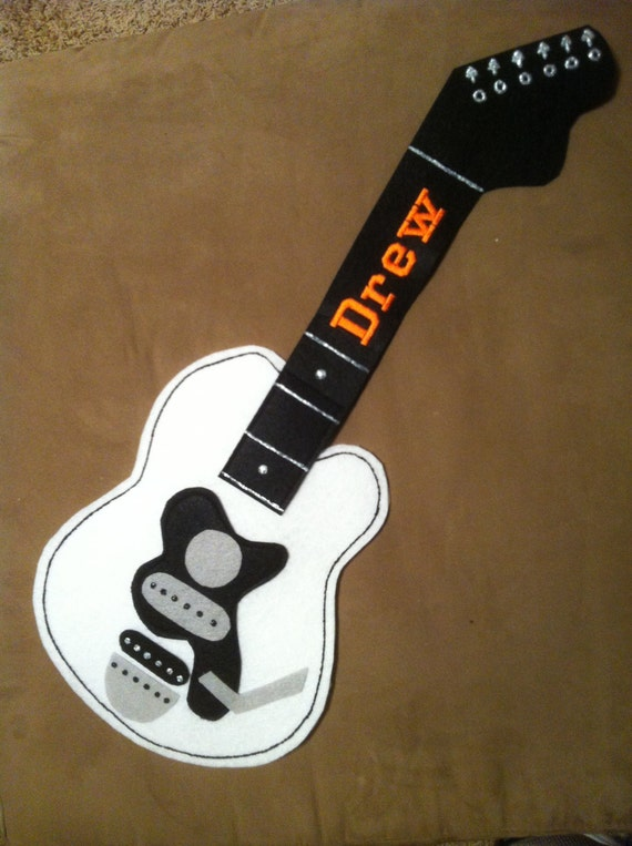 Custom Guitar shaped personalized stocking or by KayjonDesigns