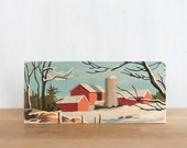 Paint by Number Art Block 'Red Barn Landscape'- vintage winter landscape, farm, rural