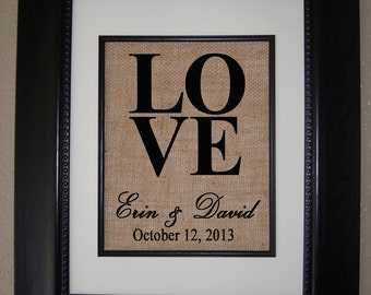 Personalized Burlap Print - LOVE - Great Wedding Gift - Engagement Present - Bridal Shower Gift