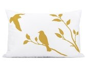 Love birds lumbar pillow cover | Mustard yellow and white | Bird in nature print, Hand Printed | 12x18 Decorative pillow case, cushion cover