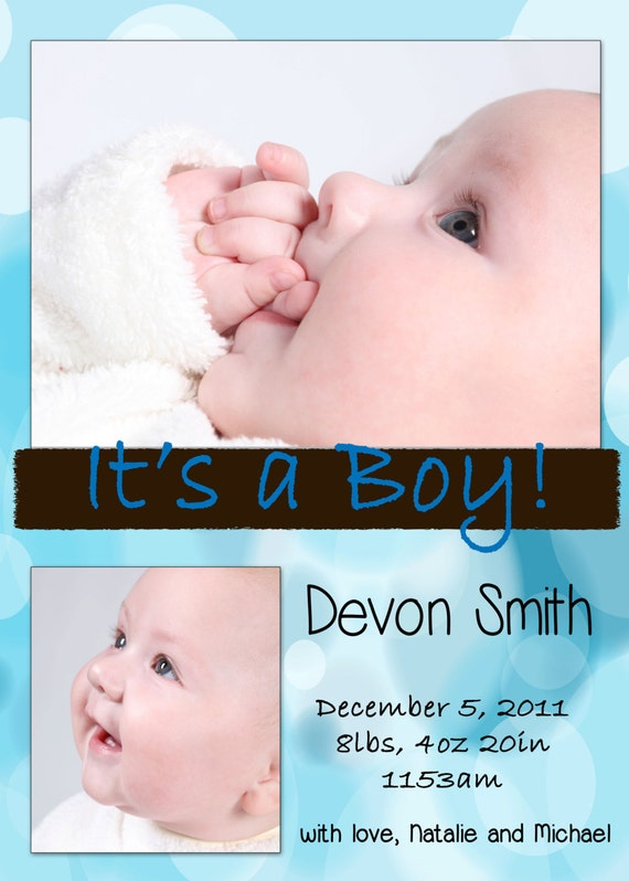 Blue birth announcements boy Etsy shop whisperingmists