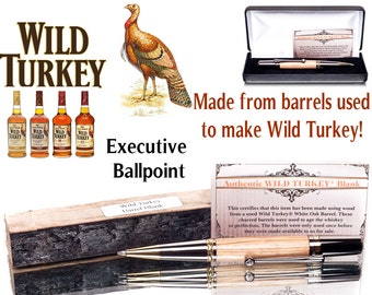 Wood ballpoint pen for sale made for Wild Turkey Drinkers Wood  from barrels used to make this fine bourbon Executive writing pen