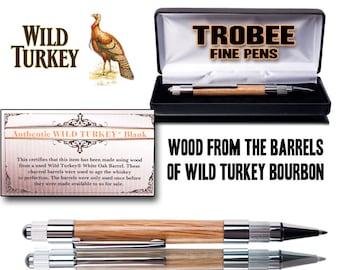 Handmade Wild Turkey Whiskey barrel wood pen., Great drinkers gift or bourbon lover present - click pen -