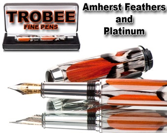Amherst feather fountain pen  Polished to a glass like shine. Great gift for a man or woman smooth writing instrument fine pen glossy finish
