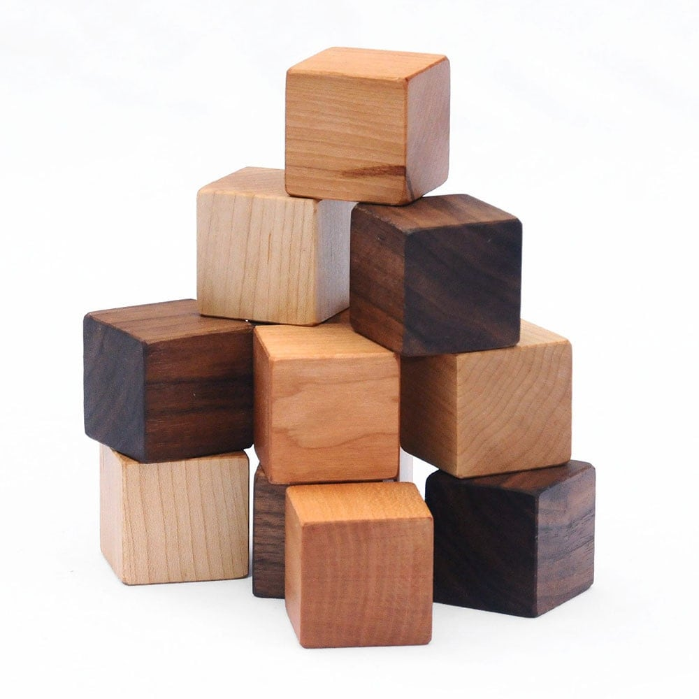 Natural wood blocks set this classic educational kids