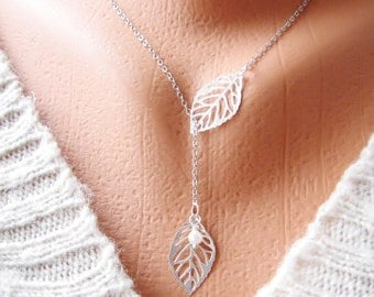 Silver Leaves Necklace, Lariat Style Leaf necklace, Silver Leaf Necklace, Lariat Necklace, Pearl Leaf, Lariat Bridal Necklace