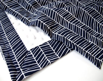 Navy Blue and White Herringbone Baby Blanket -  Modern Meadow Collection - White Minky Dot - 26 x 30