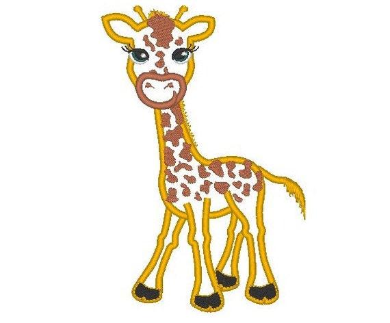 Cute Giraffe Machine Embroidery Applique Design Multiple