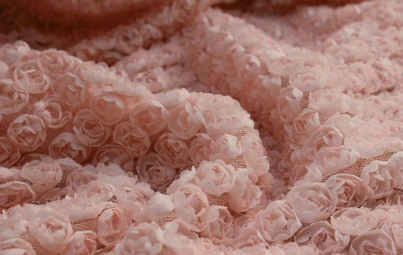 Fabric With Pink Roses 3d Pink Rosette Chiffon Fabric