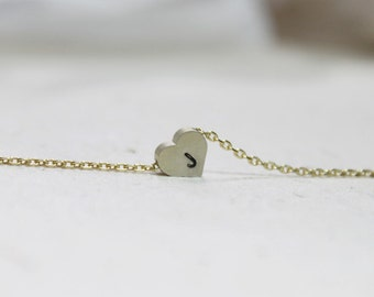 Personalized initial Heart Necklace - S2109 -4