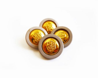 4 Vintage Buttons, Grey & Gold French Coat of Arms Buttons