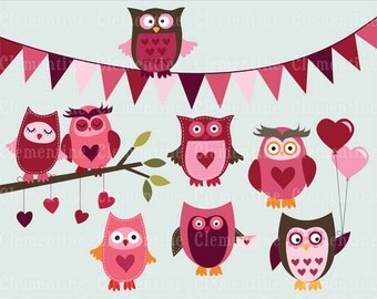 Valentine clip art images, owl clip art,  commercial use clip art- Instant Download