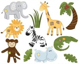 Jungle clip art images, safari clipart, elephant clip art, royalty free clip art- Instant Download