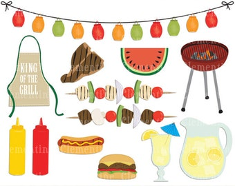 BBQ clip art images with vector, picnic clip art, barbecue clip art, royalty free- Instant Download