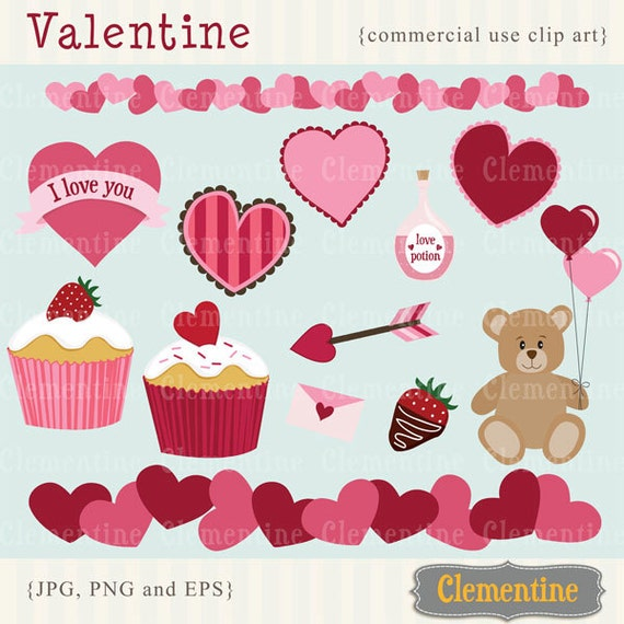 Valentine clip art images, valentine vector images, heart clip art , commercial use clip art- Instant Download